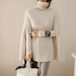 Off-white sweater poncho